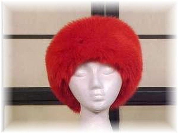 Full Skin Dyed Red Fox Fur Head Wrap 1