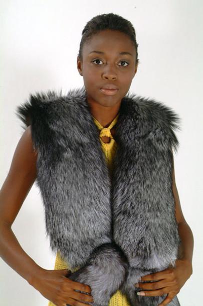 Silver Fox Full Pelt Fox Fur Scarf