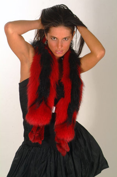 Red Curly Fox Fur Design Tails Boa