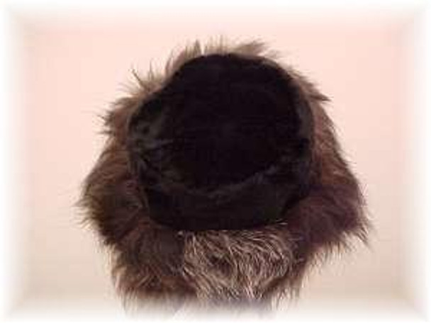 Black Faux Fur Hat with Indigo Fox Fur Trim