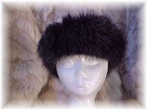 Dark Gray Fox Sectional Fur Head Wrap