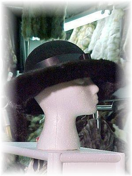 Classic Style Wool Hat with Ribbon & Mink Fur