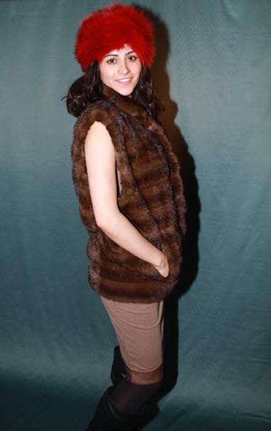 Brown Mink Fur Vest Full Skin