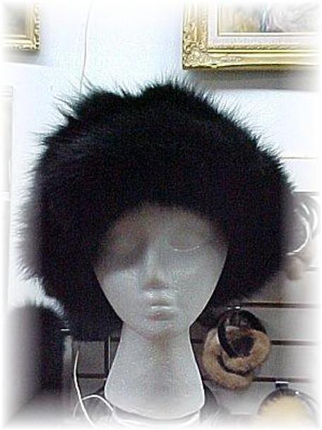 Black Fox Fur Hat with Black Fox Trim