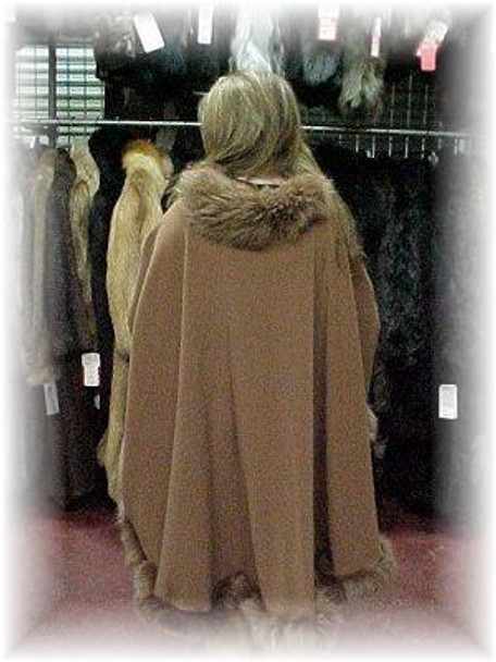 Cape with Brown Fox Fur Trim