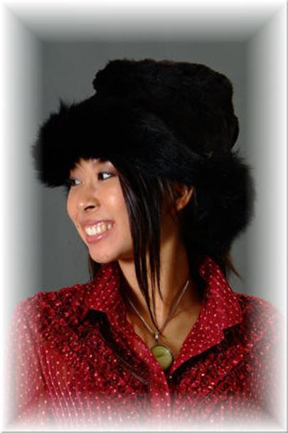 Faux Fur Hat w/ Real Black Fox Fur Trim