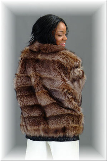 Raccoon Fur Bomber Jacket with Small Wing Fur Collar