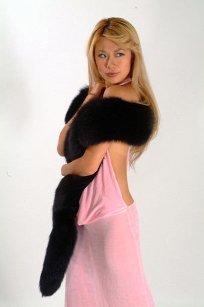 Black Fox Boa - Full And Fluffy  Scarf