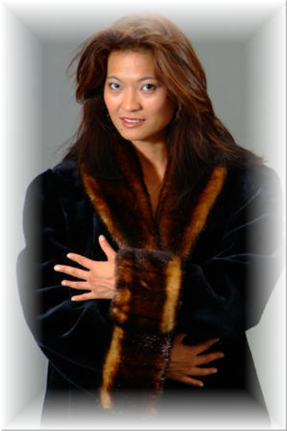 Faux Fur Coat Golden Trim