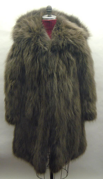 Brown 3/4 Fox Fur Jacket with hood and Large Collar