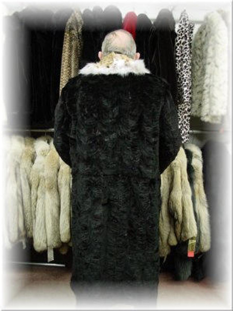 Mink Fur Coat with Lynx Fur Collar