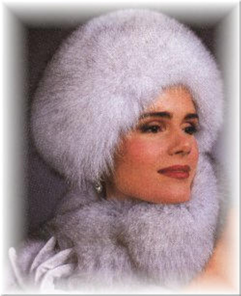 Blue Fox High Pillbox Fur Hat