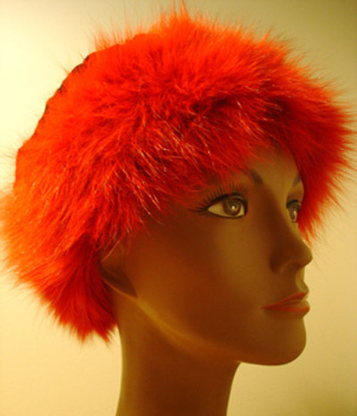 Dyed Red Fox Hat Mink Trim