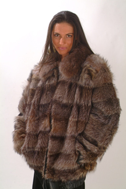 Women's Fur Raccoon Bomber Fur Jacket