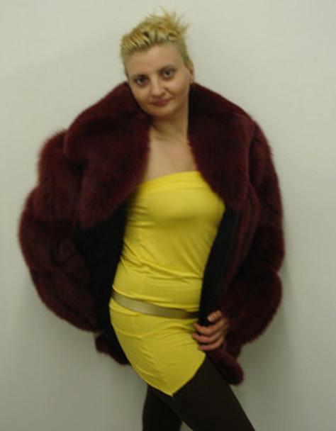 Burgundy Full Skin Bomber Fur Jacket