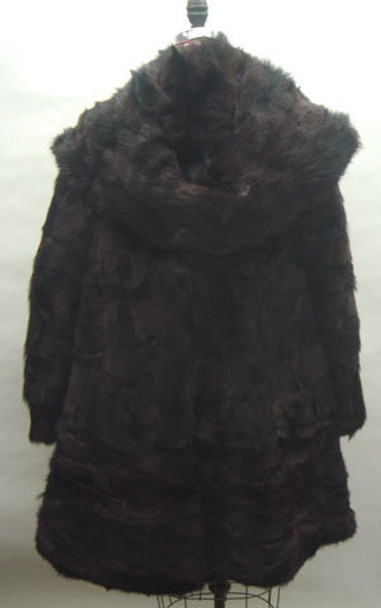 Brown 3/4 Jacket Fox Fur Design with hood and Flare style