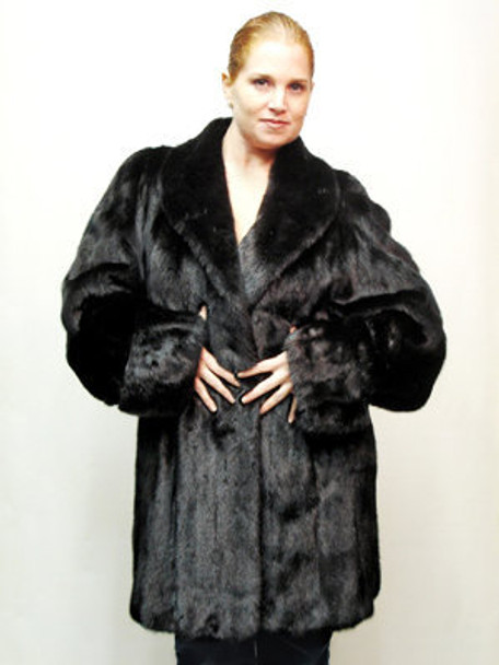 Ranch Mink Fur Full Skin 3/4 Woman's Jacket