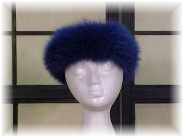 Sectional Dyed Blue Fox Fur Head Wrap