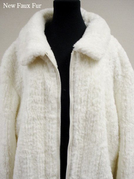 Faux Fur White Persian Lamb Bomber Jacket