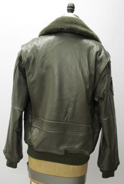 Leather Mens Olive Bomber Jacket w/ Lamb Collar