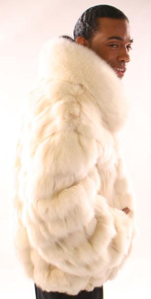 White Fox Bomber Jacket with Full Skin Collar