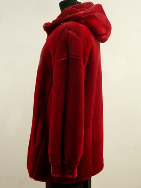 Faux Red Sheared Beaver Fur Jacket