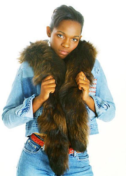 Brown Fox Fur Curly Tail Boa