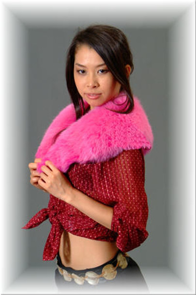 Pink Fox Fur Wing Collar