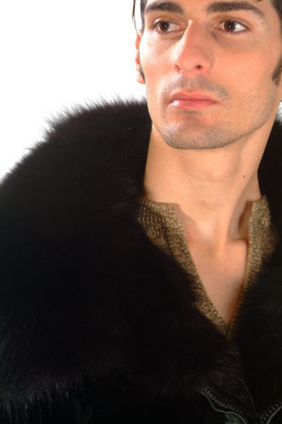 Men's Black Mink Fur Bomber Jacket 1