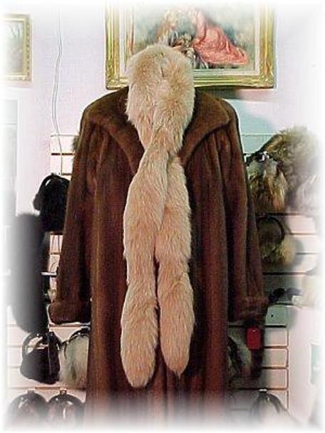 Dyed Beige Fox Fur Tail Boa