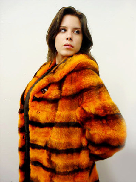 Orange / Black  Horizontal Mink Jacket