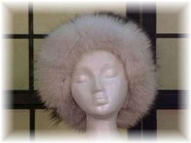 Raccoon Fur Hat with Blue Fox Fur Tail Trim