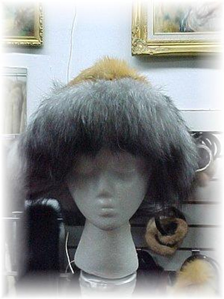 Red Fox Fur Hat with Indigo Fox Trim