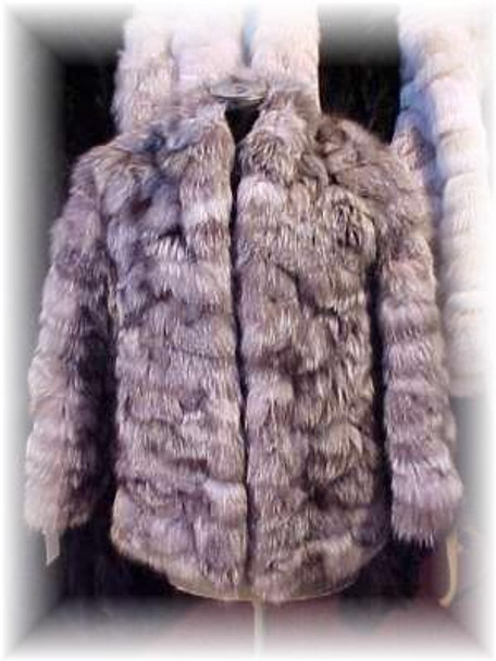 3477072fdbc Sectional Silver Fox Fur Jacket - furoutlet - fur coat