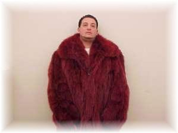 Burgundy Fox Bomber Fur Jacket