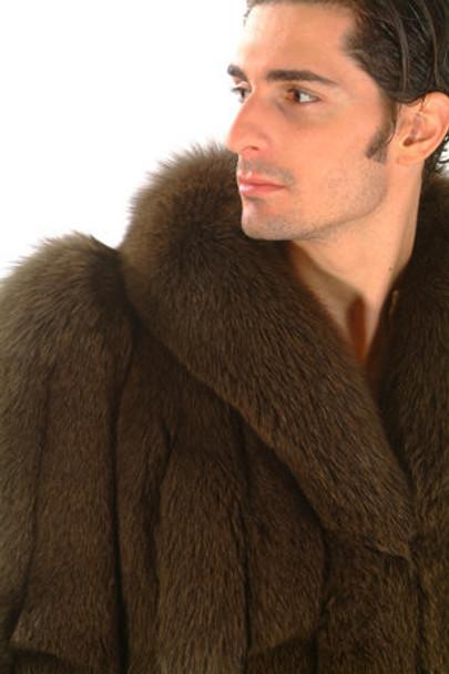Men's 3/4 Brown Fox Fur Jacket