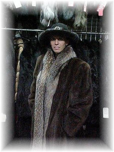 Full Skin Mahogany Mink Fur Coat with Crystal Fox