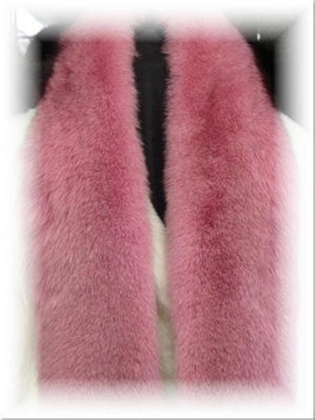 Dyed Dark Pink Full Skin Fox Fur Scarf