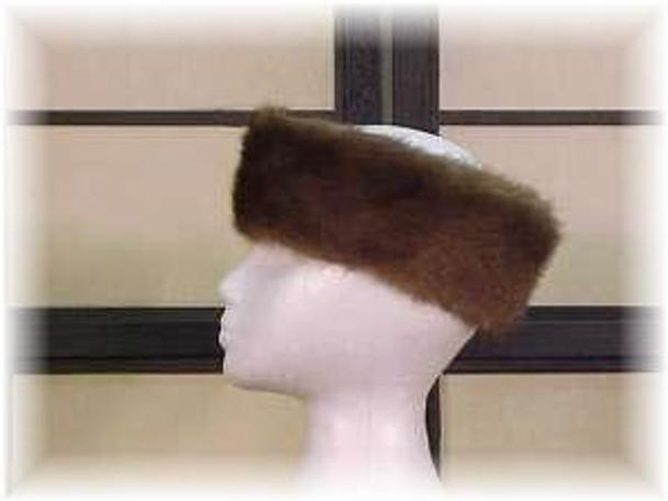 Full Skin Light Mahogany Mink Fur Head Wrap