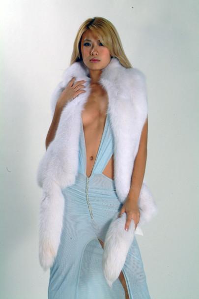 Full Skin White Fox Fur Scarf