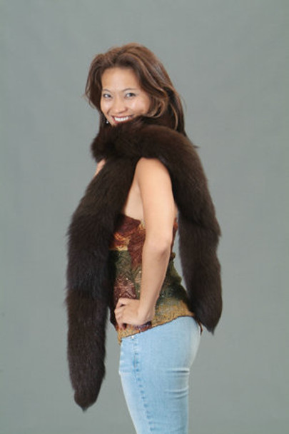 Dyed Dark Brown Fox Tail Fur Scarf