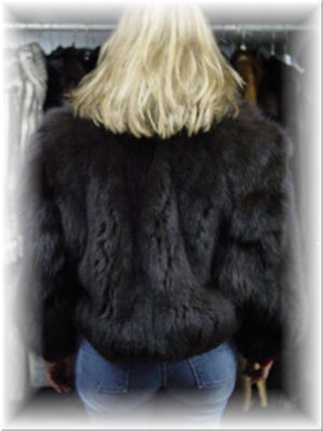 Full Skin Fox Fur Bomber Jacket