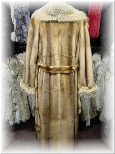 Full Skin Whiskey Mink Coat with Coyote Collar and Cuffs