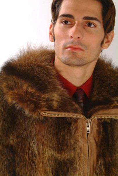 Men's Raccoon Bomber Fur Jacket
