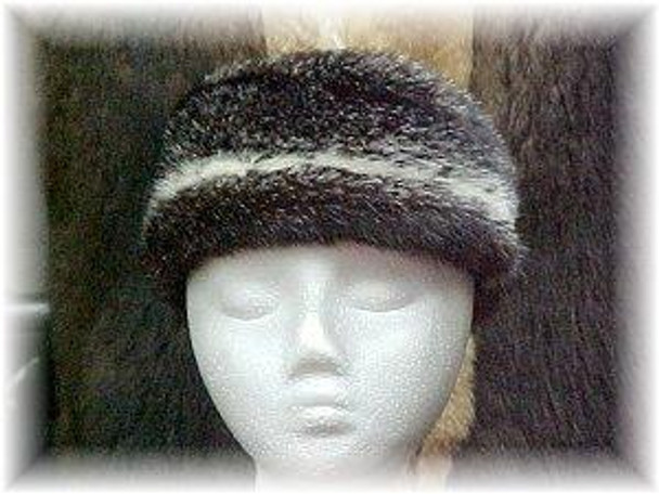 Full Skin Two-Tone Cross Mink Fur Headwrap