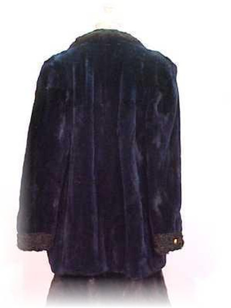 Dyed Blue Chenille Sheared Beaver Fur Jacket