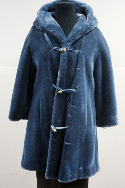 Faux Blue Beaver Jacket With Hood