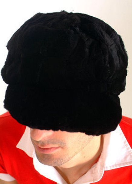 Black Sheared Mink Fur Hat Men's
