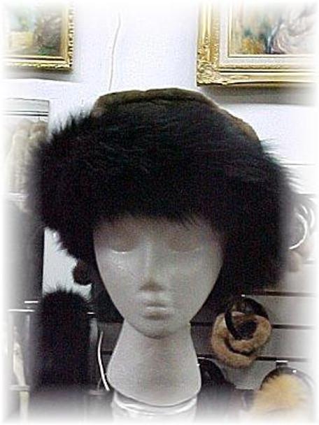 Black Fox Fur Hat with Beaver Trim & Leather