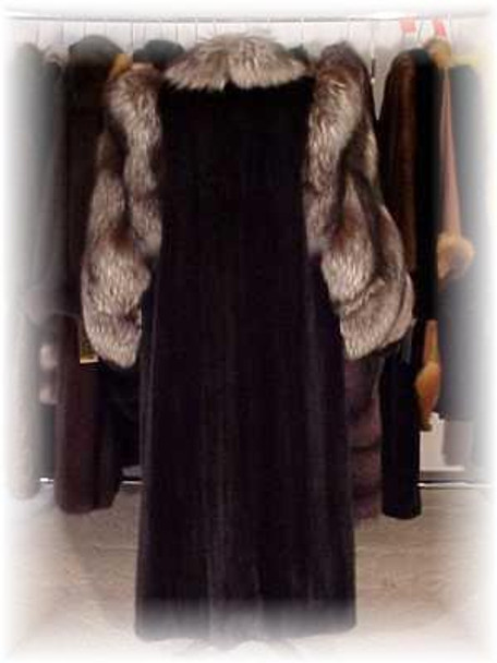 Full Skin Mink Fur Coat with Indigo Fox Trim